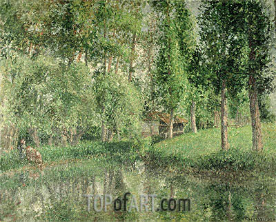 The Wash-House at Bazincourt, 1900 | Pissarro | Painting Reproduction