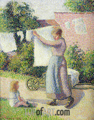 Pissarro | Woman Hanging up the Washing, 1887