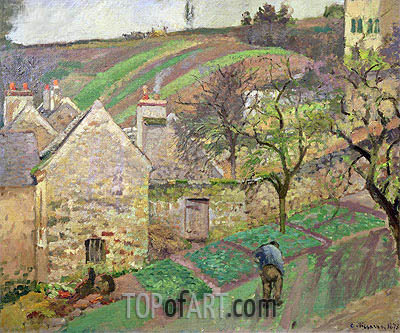 Hillside of the Hermitage, Pontoise, 1873 | Pissarro | Gemälde Reproduktion