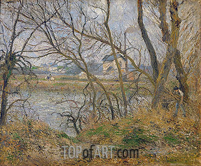 The Banks of the Oise, near Pontoise, Cloudy Weather, 1878 | Pissarro | Painting Reproduction