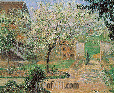 Plum Trees in Blossom, Eragny (The Artist's Home), 1894 | Pissarro| Painting Reproduction