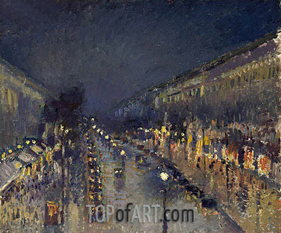 The Boulevard Montmartre at Night, 1897 | Pissarro| Painting Reproduction
