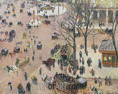 La Place du Theatre Francais, 1898 | Pissarro| Painting Reproduction