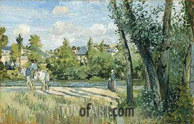 Sunlight on the Road, Pontoise, 1874 | Pissarro| Painting Reproduction