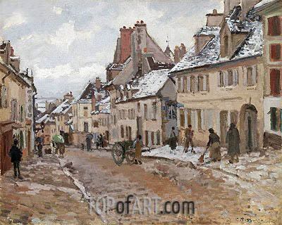 Pontoise, the Road to Gisors in Winter, 1873 | Pissarro| Painting Reproduction