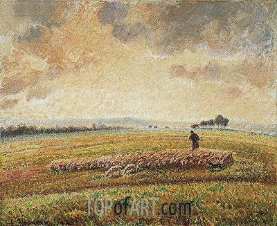 Landscape with Flock of Sheep, 1902 | Pissarro| Gemälde Reproduktion