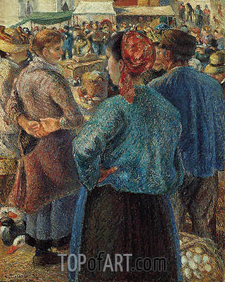 The Poultry Market at Pontoise, 1882 | Pissarro | Painting Reproduction