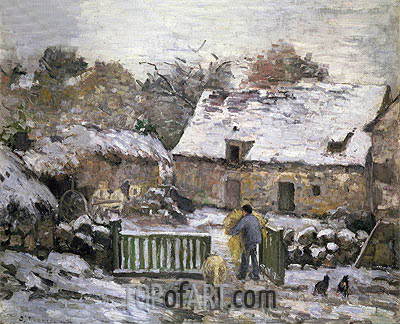 Farm at Montfoucault: Snow Effect, 1876 | Pissarro| Gemälde Reproduktion