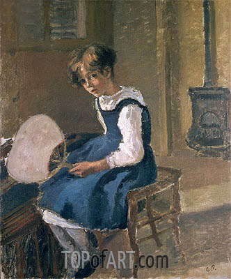 Jeanne Holding a Fan, undated | Pissarro | Painting Reproduction