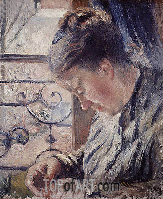 Mme Pissarro Sewing Beside a Window, undated | Pissarro | Gemälde Reproduktion