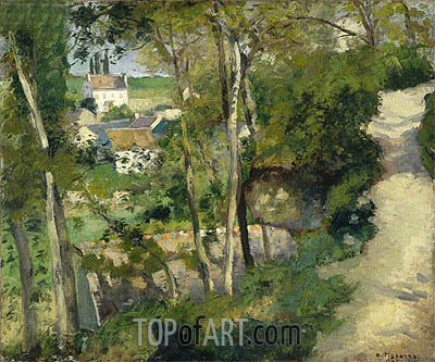 The Climb, Rue de la Cote-du-Jalet, Pontoise, 1875 | Pissarro | Painting Reproduction