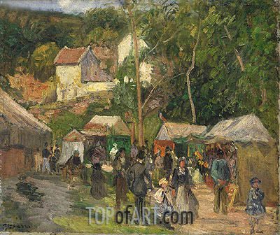 Festival at L'Hermitage, c.1876/78 | Pissarro | Painting Reproduction