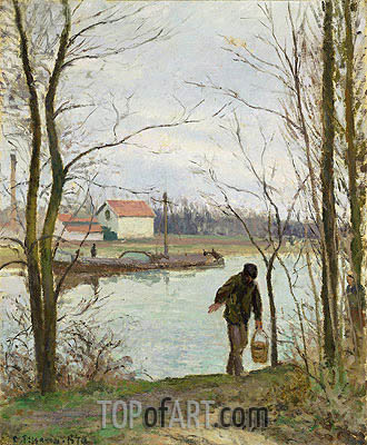 Banks of the Oise, 1874 | Pissarro | Painting Reproduction