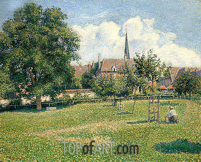 The House of the Deaf Woman and the Belfry at Eragny, 1886 | Pissarro | Painting Reproduction