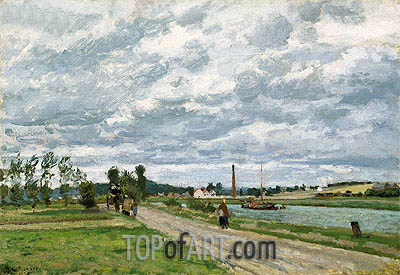 The Banks of the Oise near Pontoise, 1873 | Pissarro| Gemälde Reproduktion