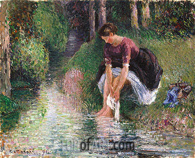 Woman Washing Her Feet in a Brook, 1894 | Pissarro | Painting Reproduction