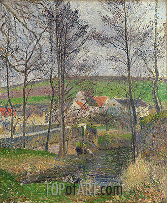The Banks of the Viosne at Osny in Grey Weather, Winter, 1883 | Pissarro | Painting Reproduction