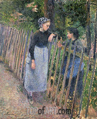 Conversation, c.1881 | Pissarro | Painting Reproduction