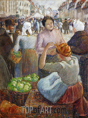 The Marketplace, Gisors, 1891 | Pissarro| Painting Reproduction
