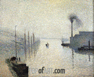 L'lle Lacroix, Rouen (The Effect of Fog), 1888 | Pissarro| Painting Reproduction