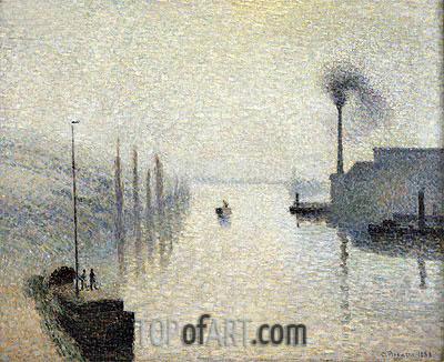 L'lle Lacroix, Rouen (The Effect of Fog), 1888 | Pissarro | Painting Reproduction