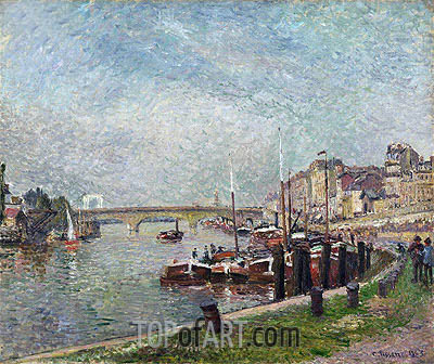 Quai Napoleon, Rouen, 1883 | Pissarro| Painting Reproduction