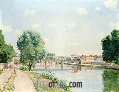 The Railway Bridge, Pontoise, undated | Pissarro| Painting Reproduction