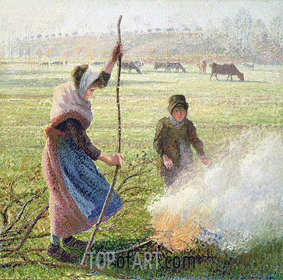 White Frost, Woman Creaking Wood, 1888 | Pissarro| Painting Reproduction