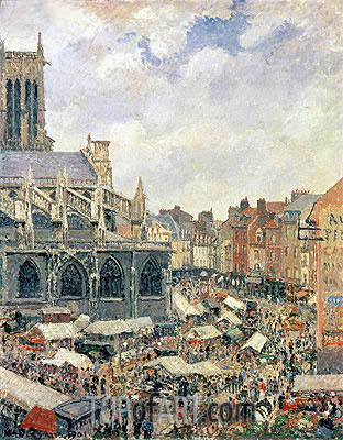 The Market Surrounding the Church of Saint-Jacques, Dieppe, 1901 | Pissarro | Painting Reproduction