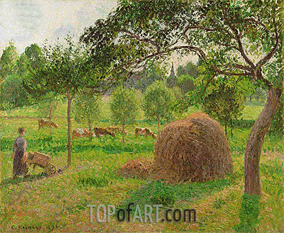 Sunset at Eragny, 1896 | Pissarro| Painting Reproduction