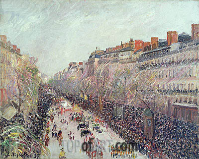 Mardi Gras on the Boulevards, 1897 | Pissarro | Painting Reproduction