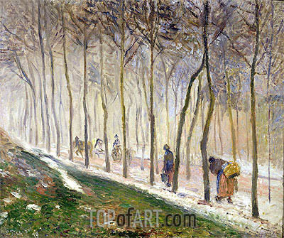 The Route, The Effect of the Snow, 1879 | Pissarro| Painting Reproduction