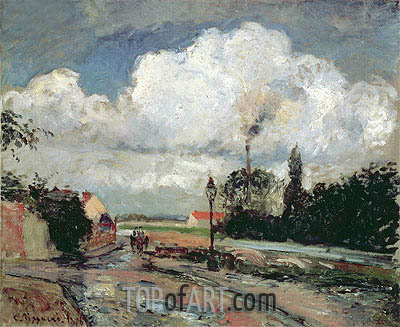 The Quai du Pothuis at Pontoise after Rain, 1876 | Pissarro | Painting Reproduction