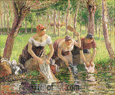 The Washerwomen, Eragny, 1895 | Pissarro| Painting Reproduction
