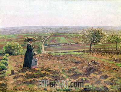 The Road to Rouen, Pontoise, 1872 | Pissarro| Painting Reproduction