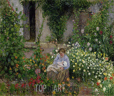 Mother and Child in the Flowers, 1879 | Pissarro| Painting Reproduction