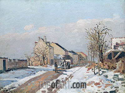 The Road from Gisors to Pontoise, Snow Effect, 1872 | Pissarro | Painting Reproduction