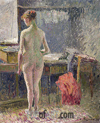 Female Nude Seen from the Back, 1895 | Pissarro| Painting Reproduction