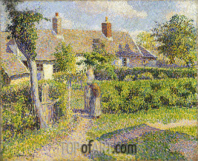 Peasants' Houses, Eragny, 1887 | Pissarro| Painting Reproduction
