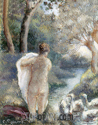 Nude with Swans, c.1895 | Pissarro| Painting Reproduction