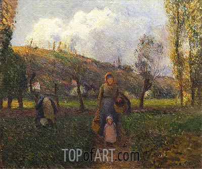 The Return from the Fields, 1883 | Pissarro| Painting Reproduction