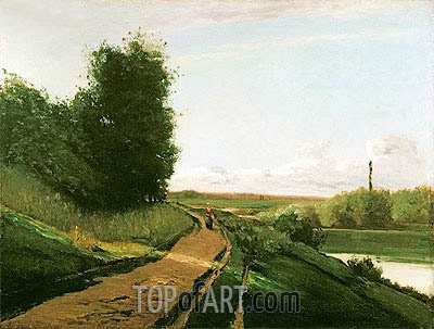 The Tow Path at Bougival, 1864 | Pissarro | Painting Reproduction