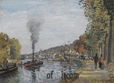 The Seine at Bougival, 1871 | Pissarro | Painting Reproduction