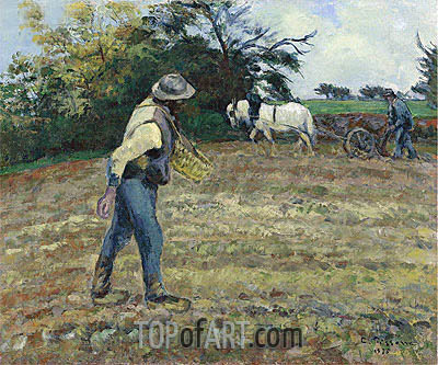 The Sower, Montfoucault, 1875 | Pissarro| Painting Reproduction