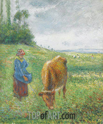 Gardeuse de Vache, Cote des Grouettes, Pontoise, 1882 | Pissarro| Painting Reproduction