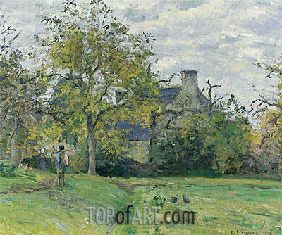 The House of Piette In Montfoucault, 1874 | Pissarro| Painting Reproduction