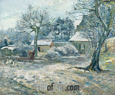 Farm in Montfoucault, Snow, 1874 | Pissarro| Painting Reproduction