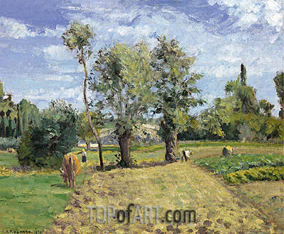 Morning Spring, Pontoise, 1874 | Pissarro| Painting Reproduction