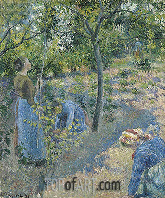 Picking Apples, 1881 | Pissarro | Painting Reproduction