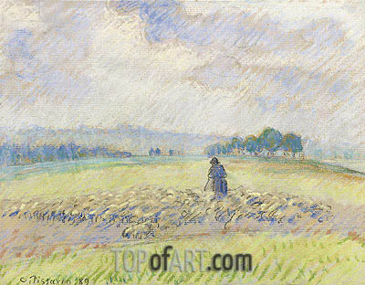 Shepherd and Sheep, Eragny, 1889 | Pissarro| Painting Reproduction